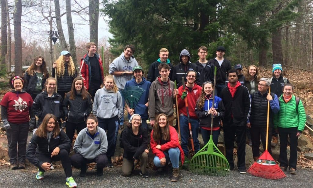 clean up day in the woods at Wood Frog Hollow